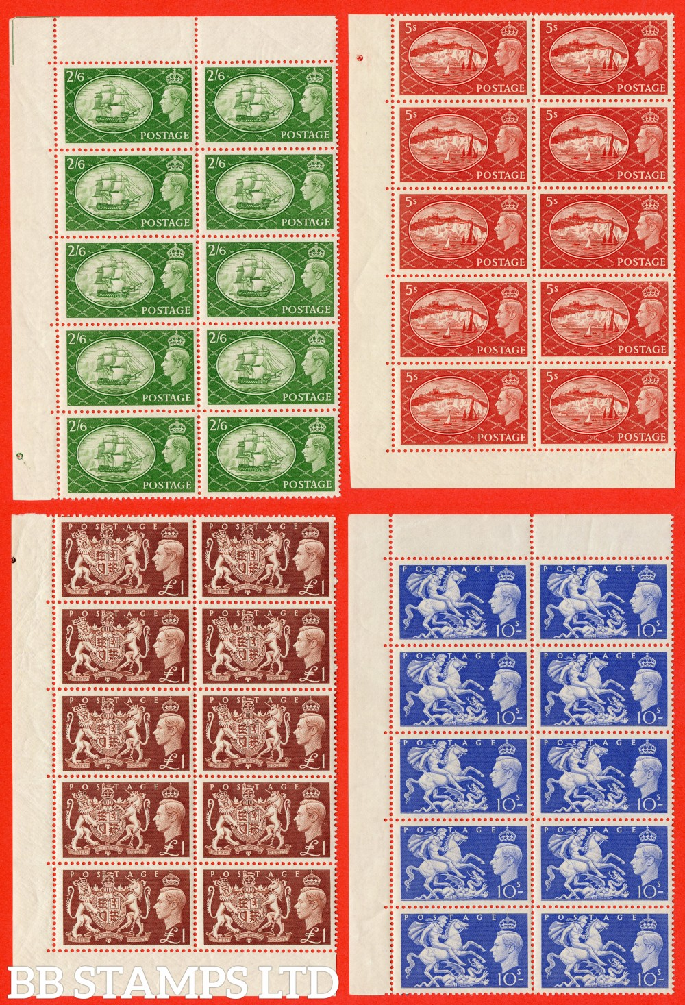 SG. 509 - 512. Q35 - Q38. 2/6 - £1.00. 1951 Festival high values. A superb UNMOUNTED MINT complete set of 4 in left hand marginal blocks of 10.