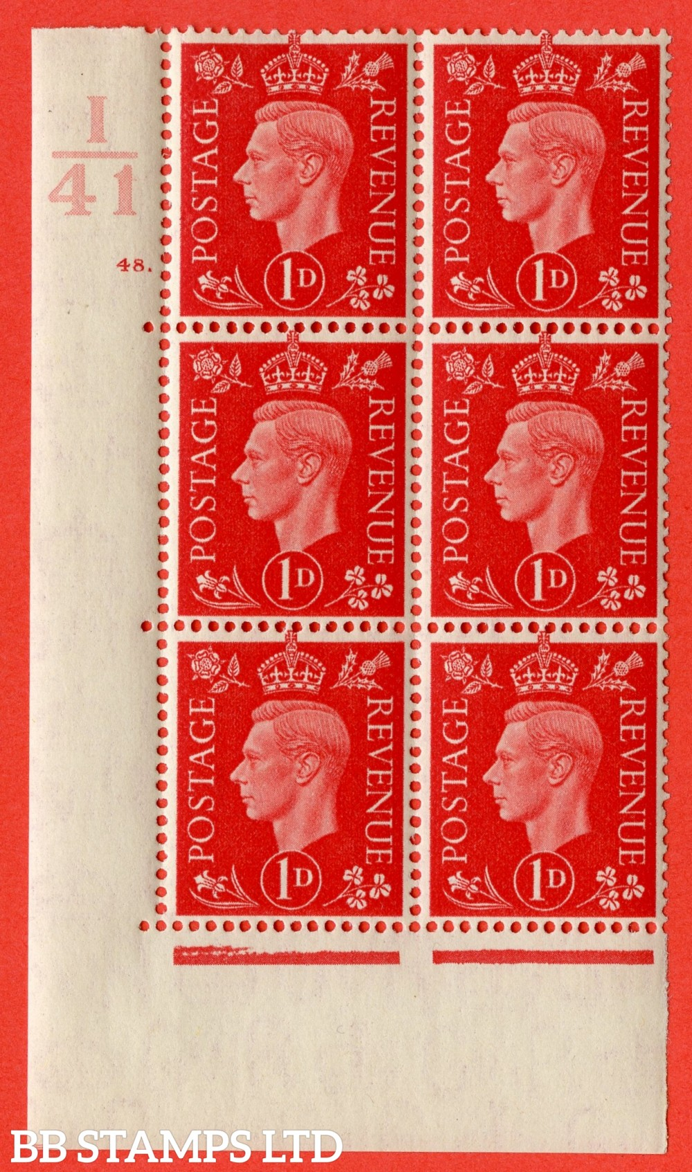 "SG. 463. Q4. 1d Scarlet. A very fine lightly mounted mint "" Control I41 cylinder 48 no dot "" block of 6 with perf type 5 E/I with marginal rule."