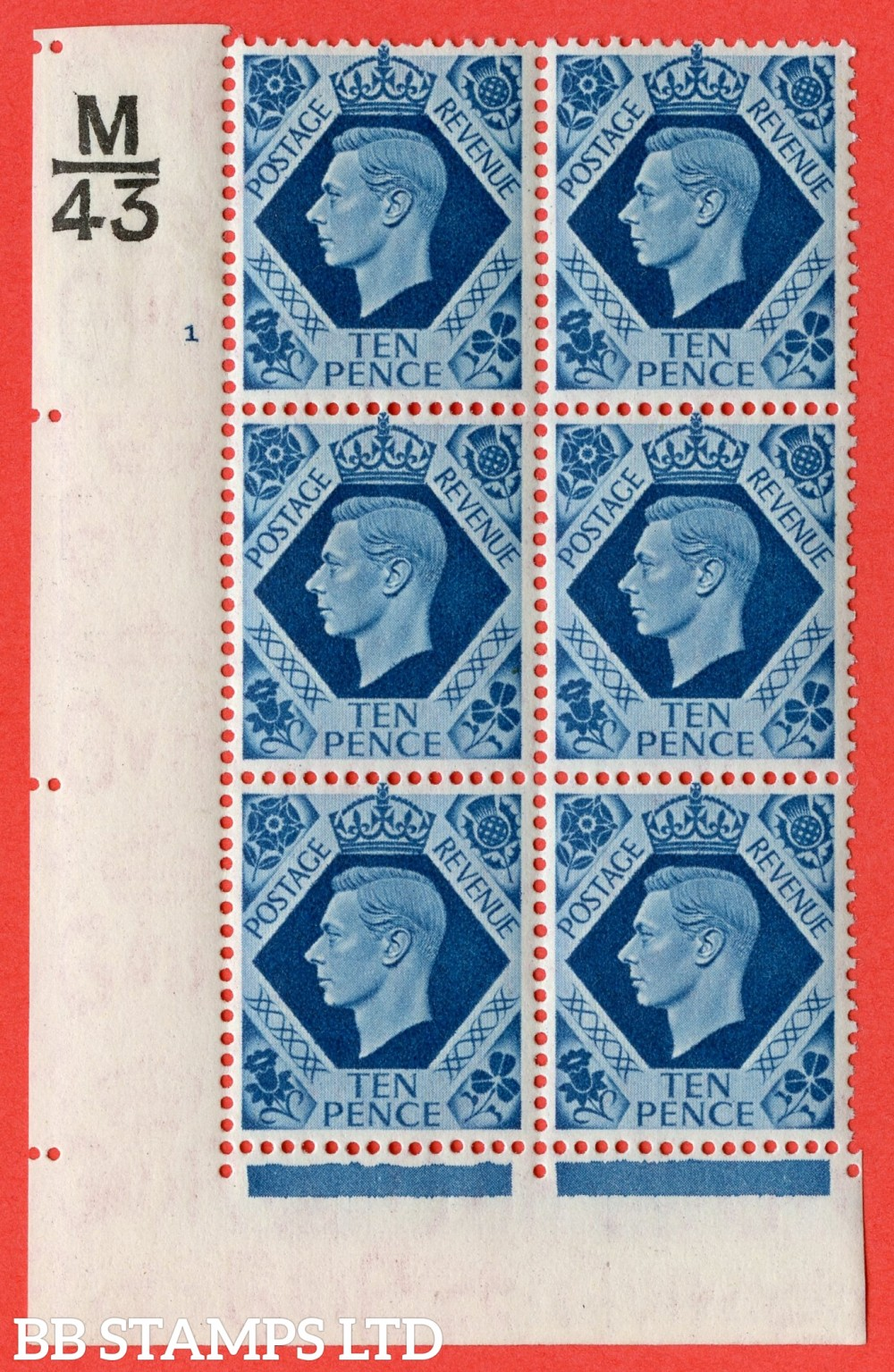 "SG. 474. Q26. 10d Turquoise-Blue. A fine mounted mint "" Control  M43 cylinder 1 no dot "" control block of 6 with perf type 2 I/E."