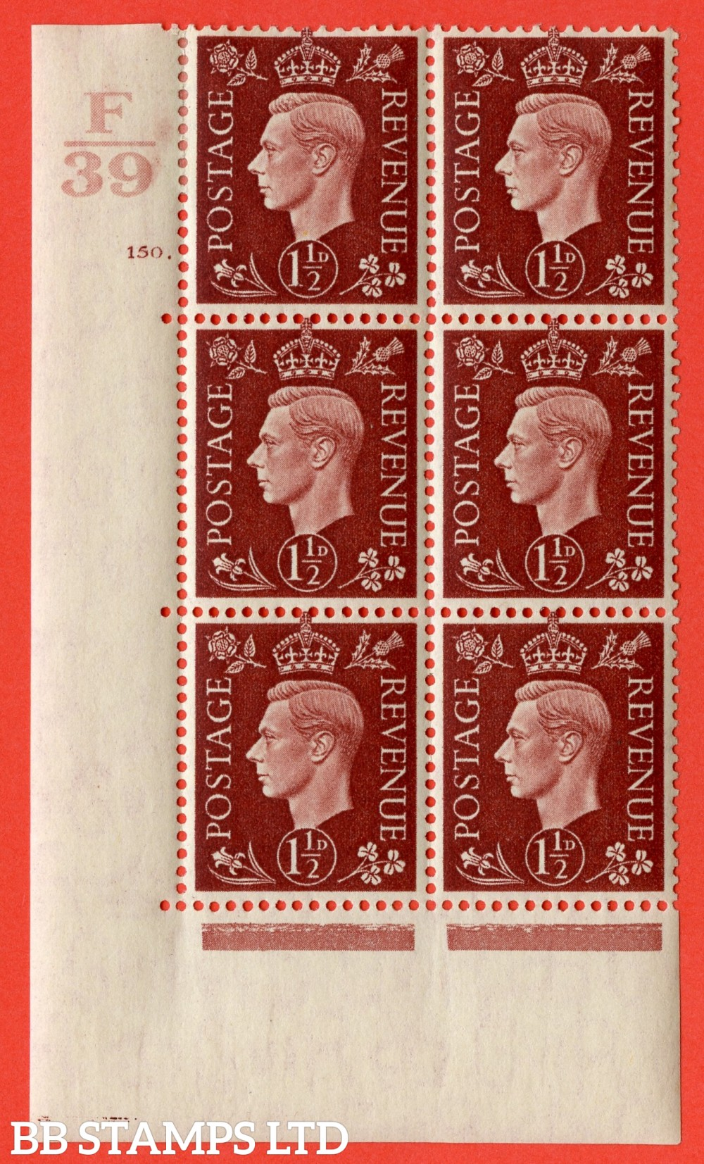 "SG. 464. Q7. 1½d Red-Brown. A very fine mounted mint "" Control F39 cylinder 150 dot "" control block of 6 with perf type 5 E/I. with marginal rule."