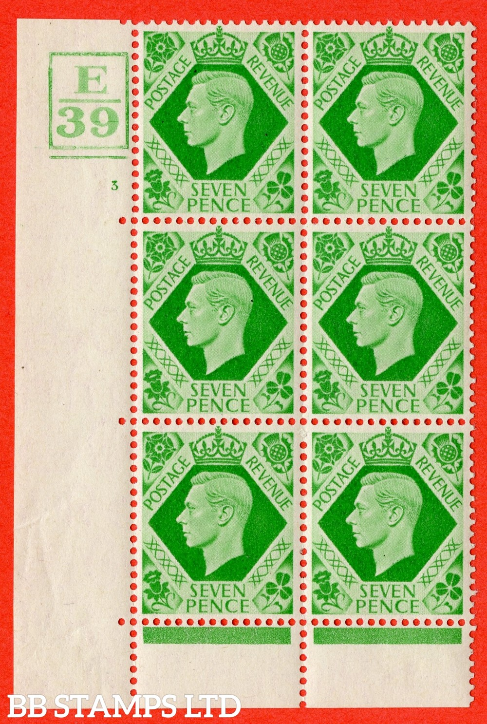 """SG. 471. Q23. 7d Emerald-Green. A fine lightly mounted mint """" Control E39 Box and Bar bottom cylinder 3 no dot """" control block of 6 with perf type 6B E/P"""