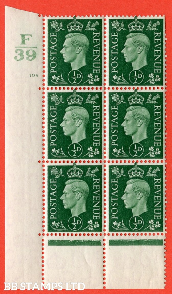 "SG. 462. Q1. ½d Green. A superb UNMOUNTED MINT"" Control F39 cylinder 104 dot "" block of 6 with perf type 5 E/I with marginal rule."