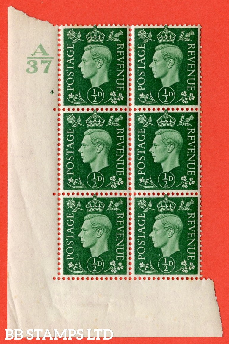 "SG. 462. Q1. ½d Green. A superb UNMOUNTED MINT"" Control A37 cylinder 4 no dot "" block of 6 with perf type 5 E/I without marginal rule."