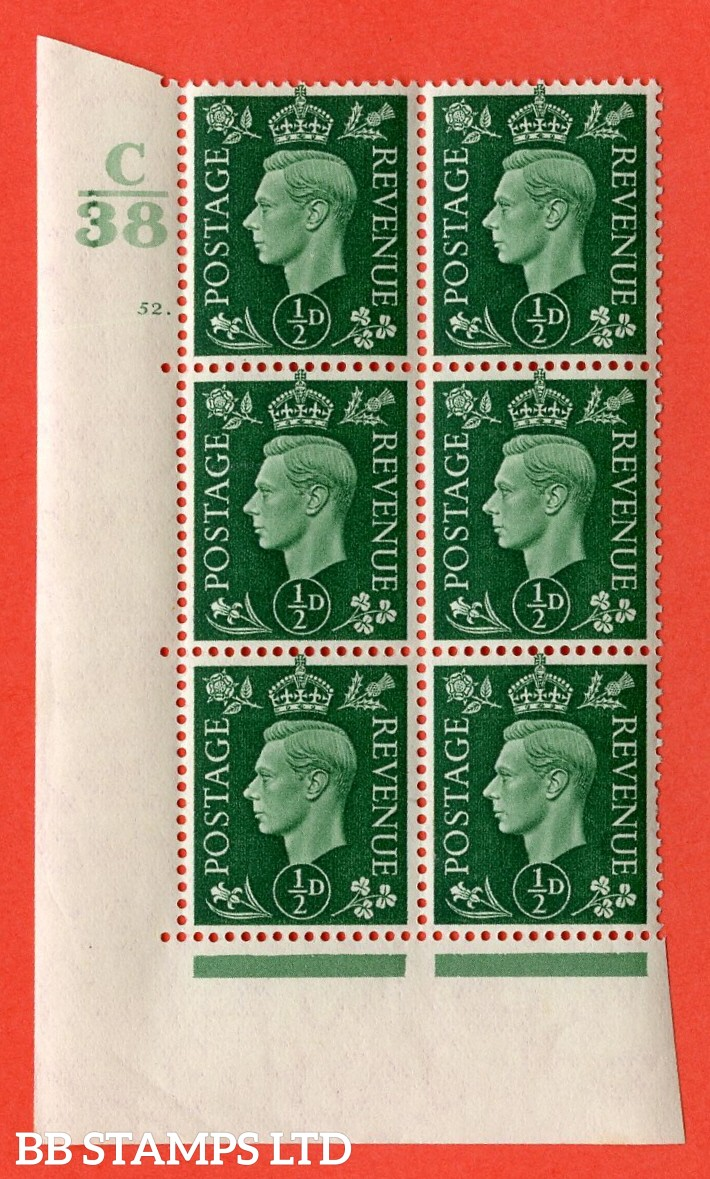 """SG. 462. Q1. ½d Green. A superb UNMOUNTED MINT """" Control C38 cylinder 52 dot """" block of 6 with perf type 5 E/I with marginal rule."""
