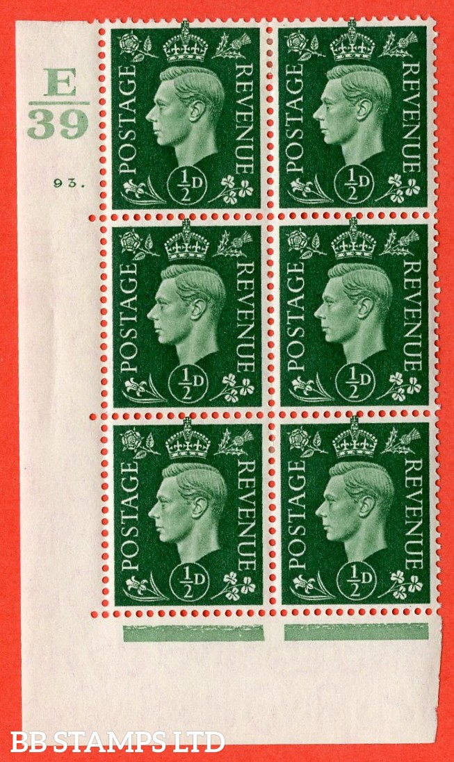 "SG. 462. Q1. ½d Green. A very fine lightly mounted mint "" Control E39 cylinder 93 dot "" block of 6 with perf type 5 E/I with marginal rule."