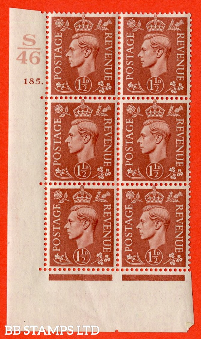 "SG. 487. Q8. 1½d Pale Red-Brown. A superb UNMOUNTED MINT ""  Control S46 cylinder 185 dot "" control block of 6 with perf type 5 E/I. with marginal rule"