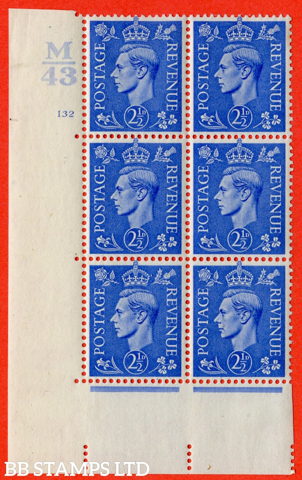 """SG. 489. Q14. 2½d Light ultramarine. A very fine lightly mounted mint """"  Control M43 cylinder 132 no dot """" control block of 6 with perf type 5 E/I."""