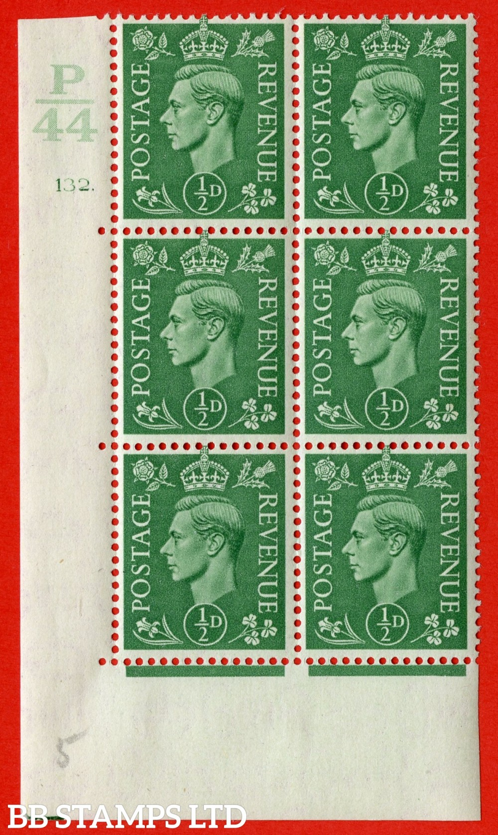 "SG. 485. Q2. ½d Pale Green. A very fine lightly mounted mint "" Control P44 cylinder 132 dot "" block of 6 with perf type 5 E/I with marginal rule."