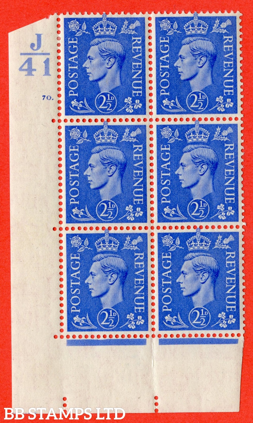"SG. 489. Q14. 2½d Light ultramarine. A fine lightly mounted mint ""  Control J41 cylinder 70 dot "" control block of 6 with perf type 5 E/I."