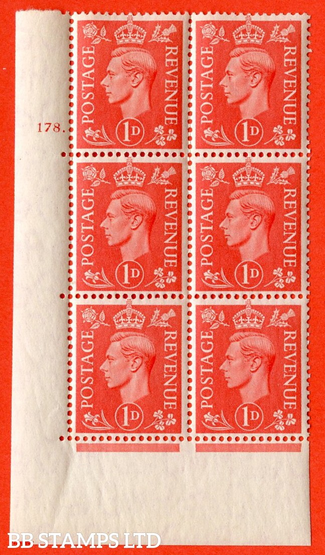 "SG. 486. Q5A. 1d Pale scarlet. A superb UNMOUNTED MINT "" No Control  cylinder 178 dot "" control block of 6 with perf type 5 E/I."
