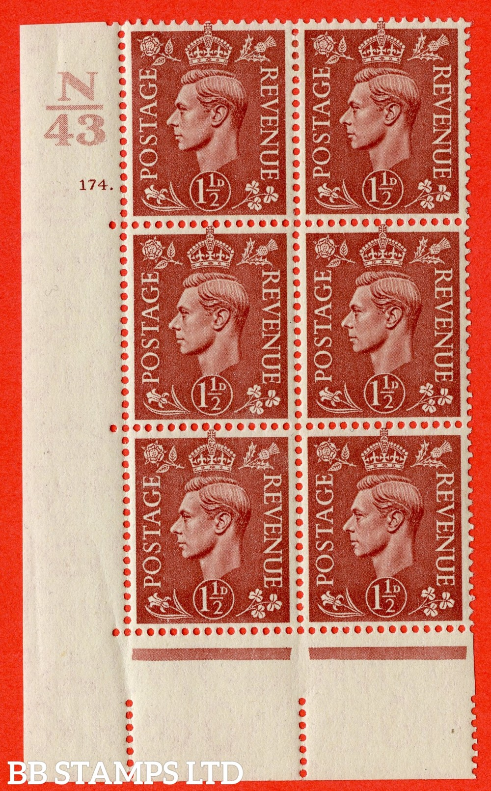 "SG. 487. Q8. 1½d Pale Red-Brown. A very fine lightly mounted mint "" Control N43 cylinder 174 dot "" control block of 6 with perf type 5 E/I. with marginal rule"