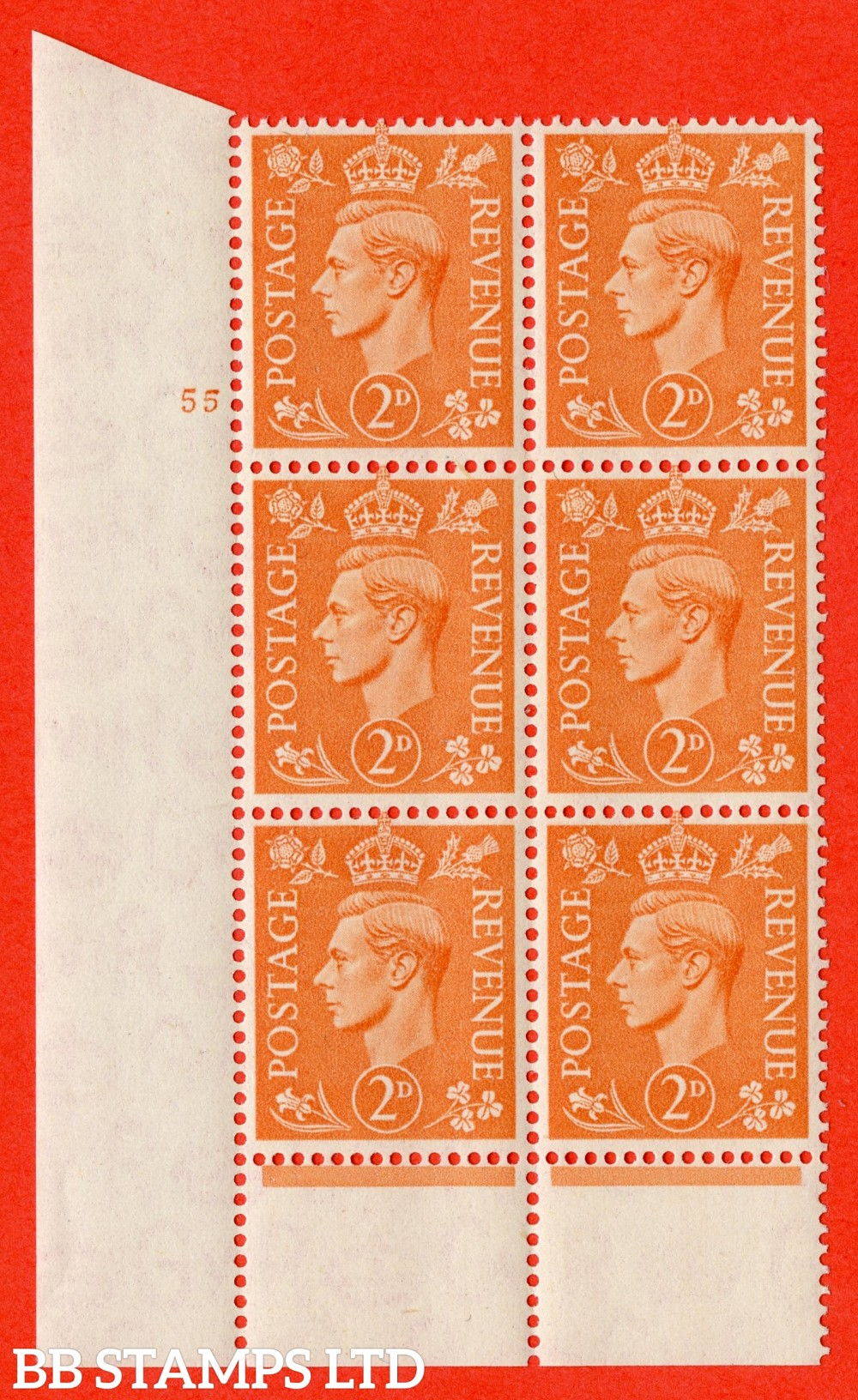 "SG. 488. Q11. 2d Pale Orange. A superb UNMOUNTED MINT "" No Control cylinder 55 no dot "" control block of 6 with perf type 6 I/P."
