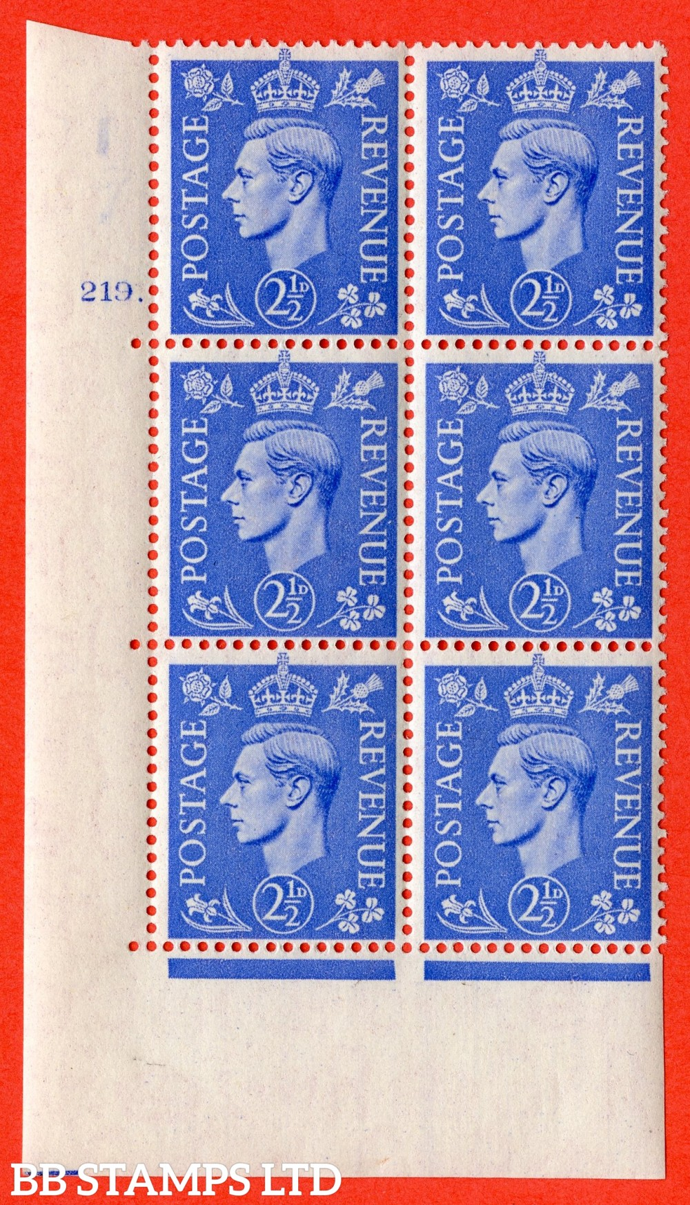 "SG. 489. Q14. 2½d Light ultramarine. A superb UNMOUNTED MINT "" No Control cylinder 219 dot "" control block of 6 with perf type 5 E/I."