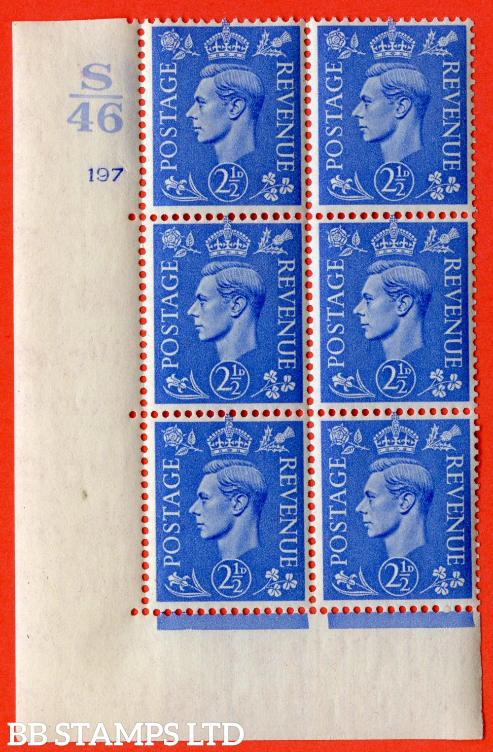 "SG. 489. Q14. 2½d Light ultramarine. A superb UNMOUNTED MINT ""  Control S46 cylinder 197 no dot "" control block of 6 with perf type 5 E/I."
