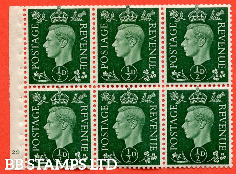 "SG. 462. QB1. ½d green. A fine UNMOUNTED MINT cylinder "" E29 no dot "" booklet pane of 6 with excellent perfs. Perf type B3(I)."