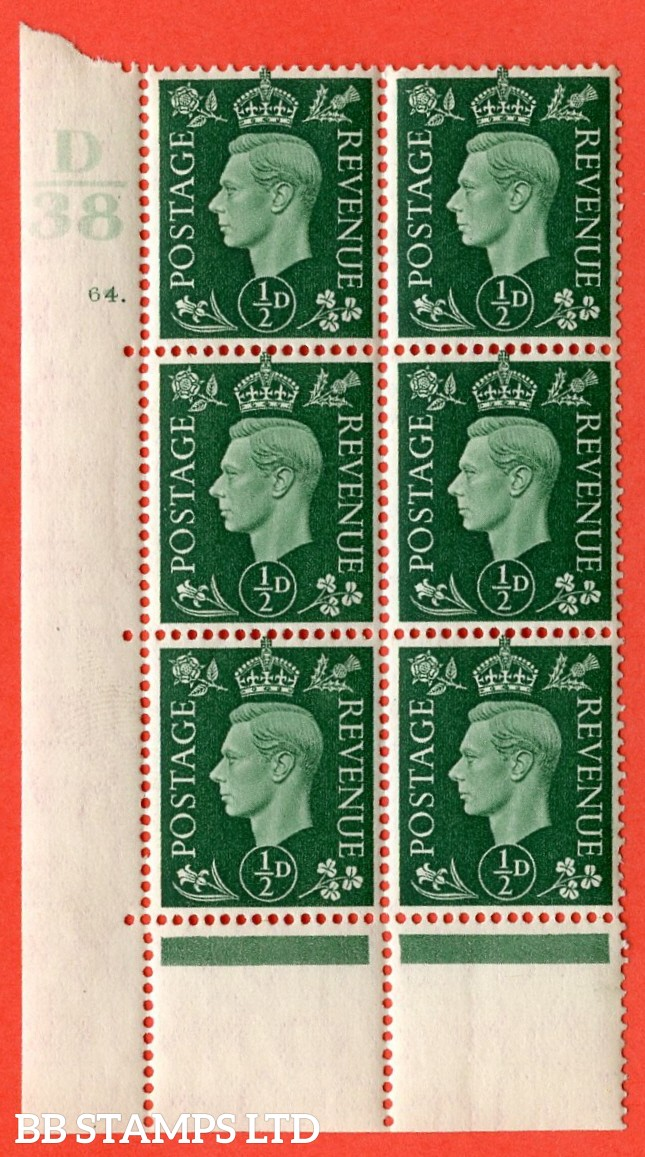 "SG. 462. Q1. ½d Green. A superb UNMOUNTED MINT"" Control D38 cylinder 64 dot "" block of 6 with perf type 5 E/I with marginal rule. Perf encroachment."