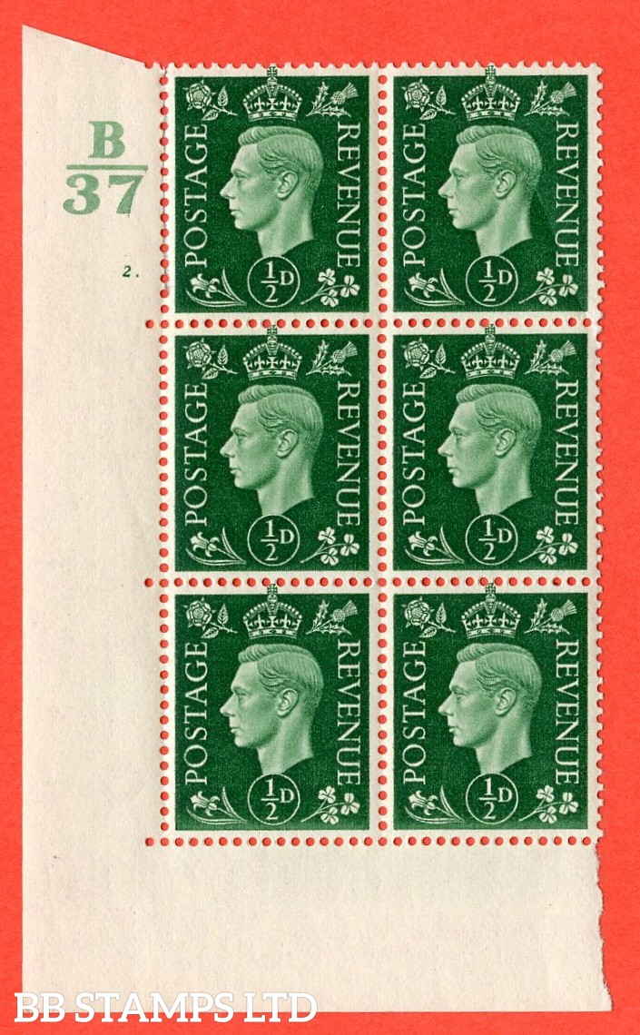 "SG. 462. Q1. ½d Green. A superb UNMOUNTED MINT "" Control B37 cylinder 2 dot "" block of 6 with perf type 5 E/I without marginal rule."