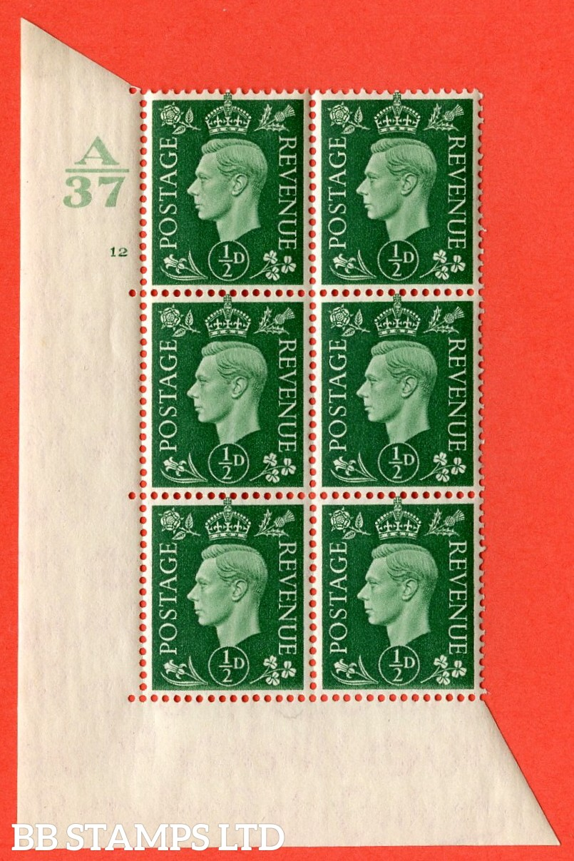 "SG. 462. Q1. ½d Green. A superb UNMOUNTED MINT"" Control A37 cylinder 12 no dot "" block of 6 with perf type 5 E/I without marginal rule."