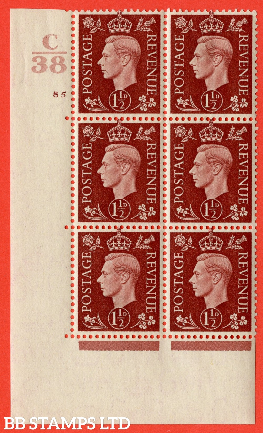 """SG. 464. Q7. 1½d Red-Brown. A fine lightly mounted mint """" Control C38 cylinder 85 no dot """" control block of 6 with perf type 5 E/I. with marginal rule."""