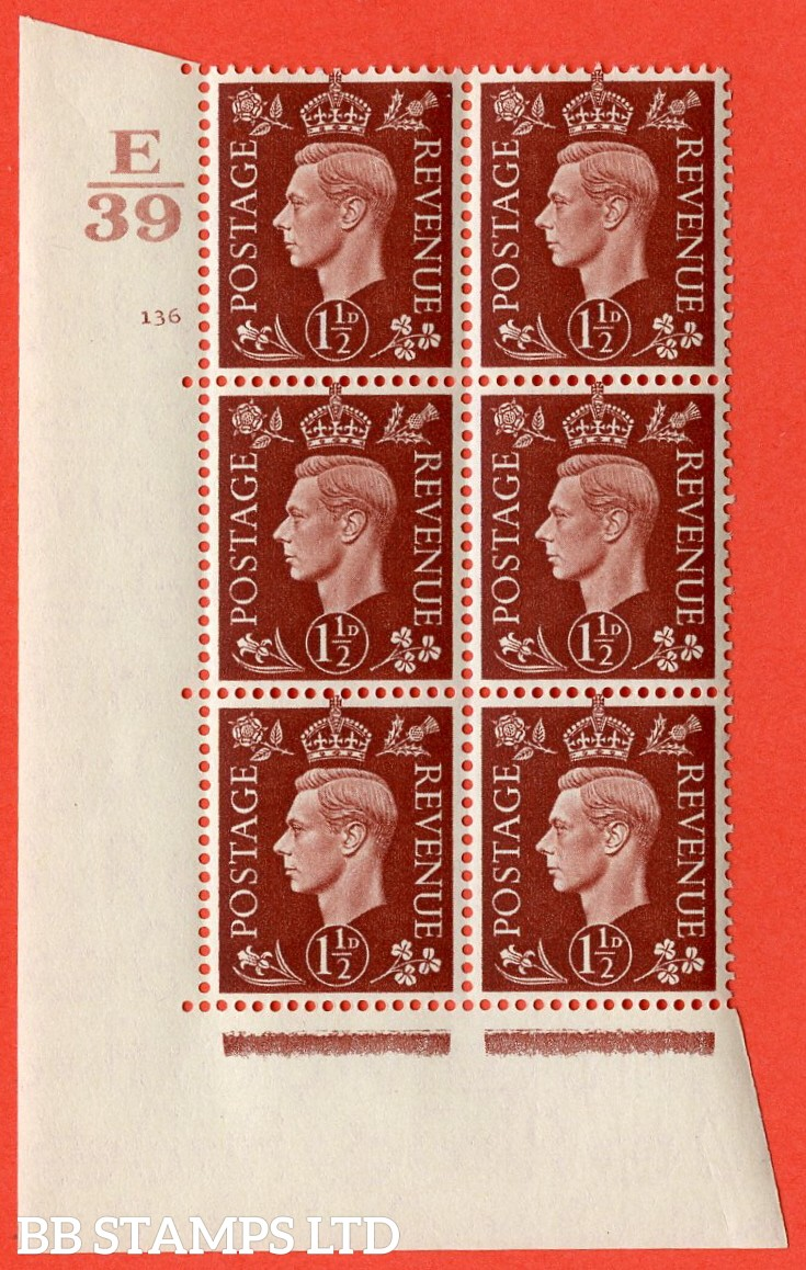 "SG. 464. Q7. 1½d Red-Brown. A superb UNMOUNTED MINT "" Control E39 cylinder 136 no dot "" control block of 6 with perf type 5 E/I. with marginal rule."