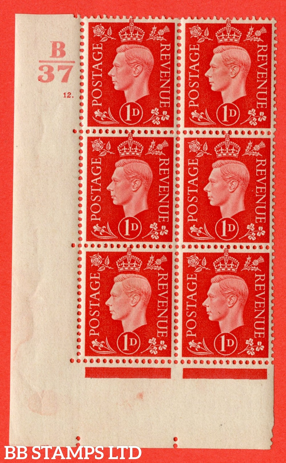 "SG. 463. Q4. 1d Scarlet. A very fine lightly mounted mint "" Control B37 cylinder 12 dot "" block of 6 with perf type 5 E/I with marginal rule."