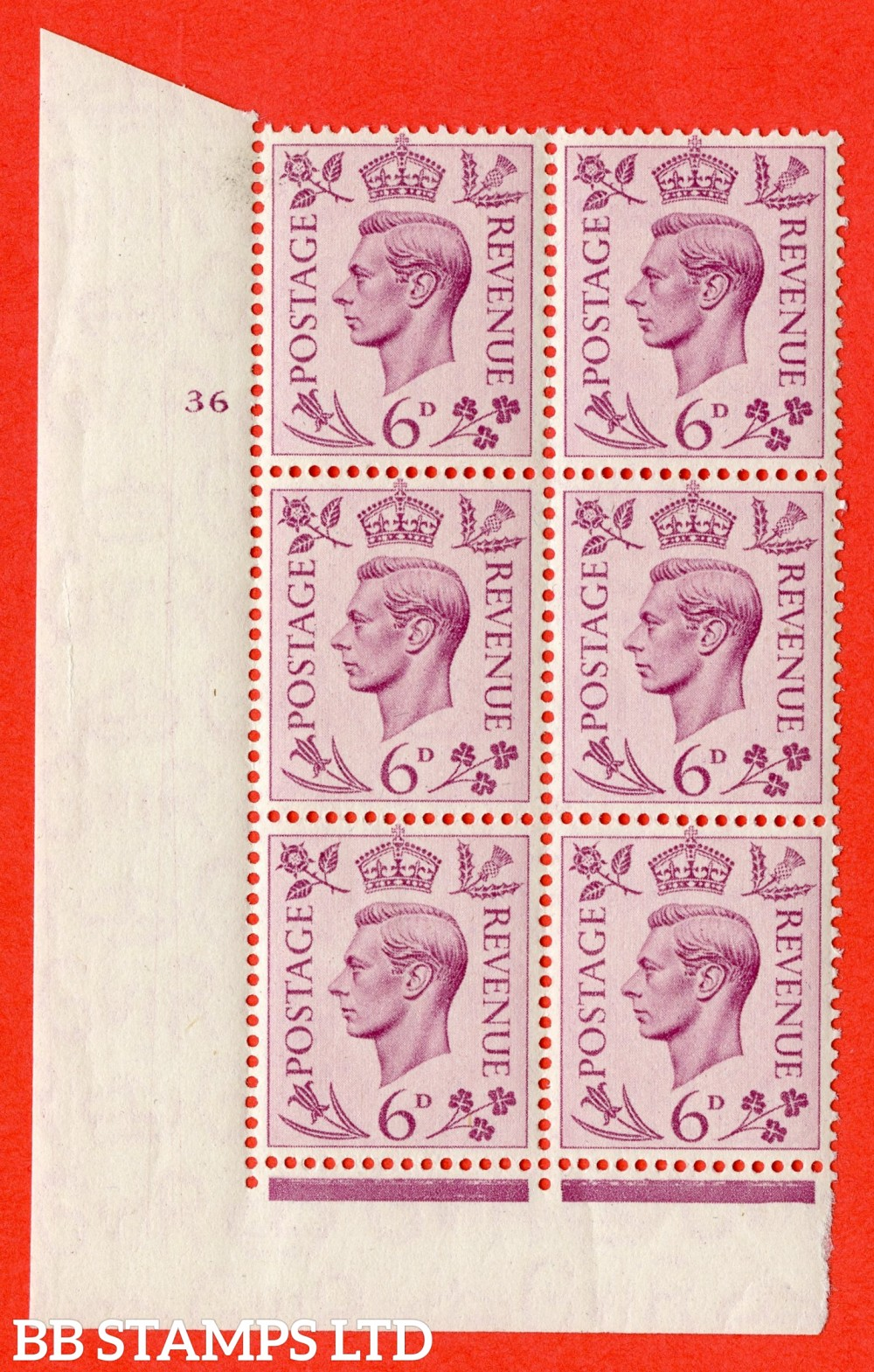 """SG. 470. Q22. 6d Purple. A superb UNMOUNTED MINT """" No Control cylinder 36 no dot """" control block of 6 with perf type 2 I/E."""