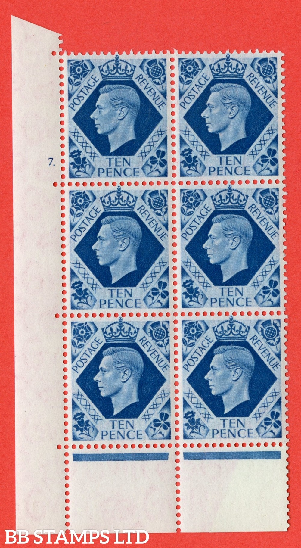 "SG. 474. Q26. 10d Turquoise-Blue. A superb UNMOUNTED MINT "" No Control cylinder 7 no dot "" control block of 6 with perf type 6B E/P."