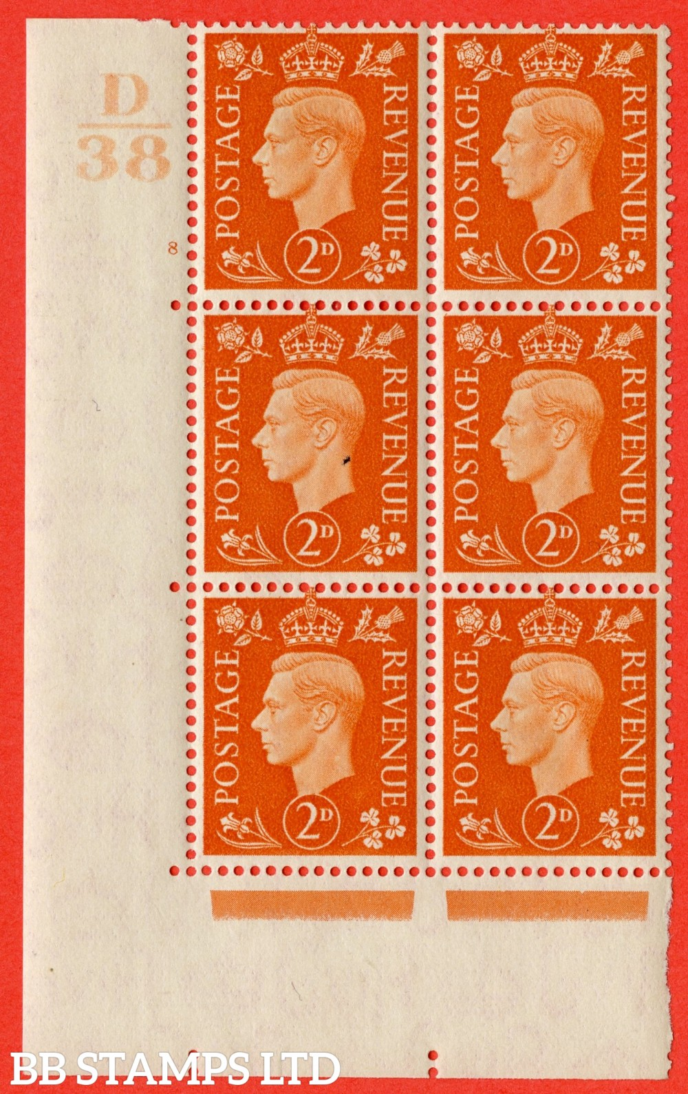 "SG. 465. Q10. 2d Orange. A very fine lightly mounted mint "" Control D38 cylinder 8 no dot "" control block of 6 with perf type 5 E/I."