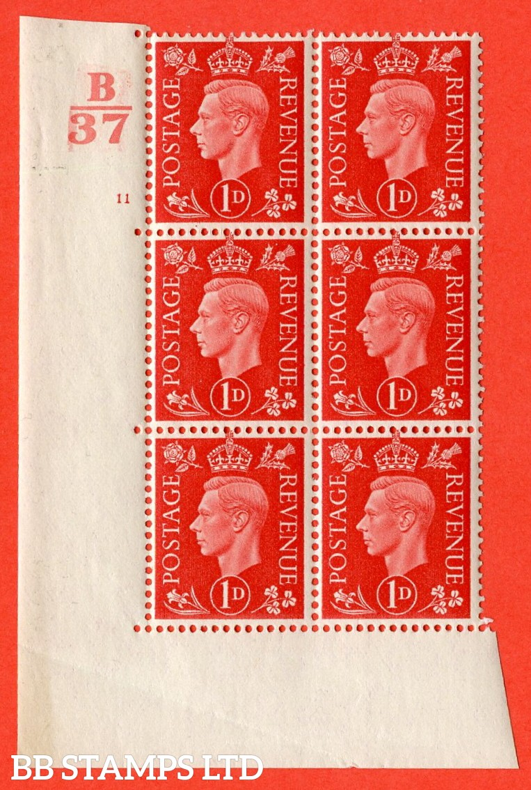"""SG. 463. Q4. 1d Scarlet. A superb UNMOUNTED MINT """" Control B37 cylinder 11 no dot """" block of 6 with perf type 5 E/I without marginal rule. Crease in margin."""
