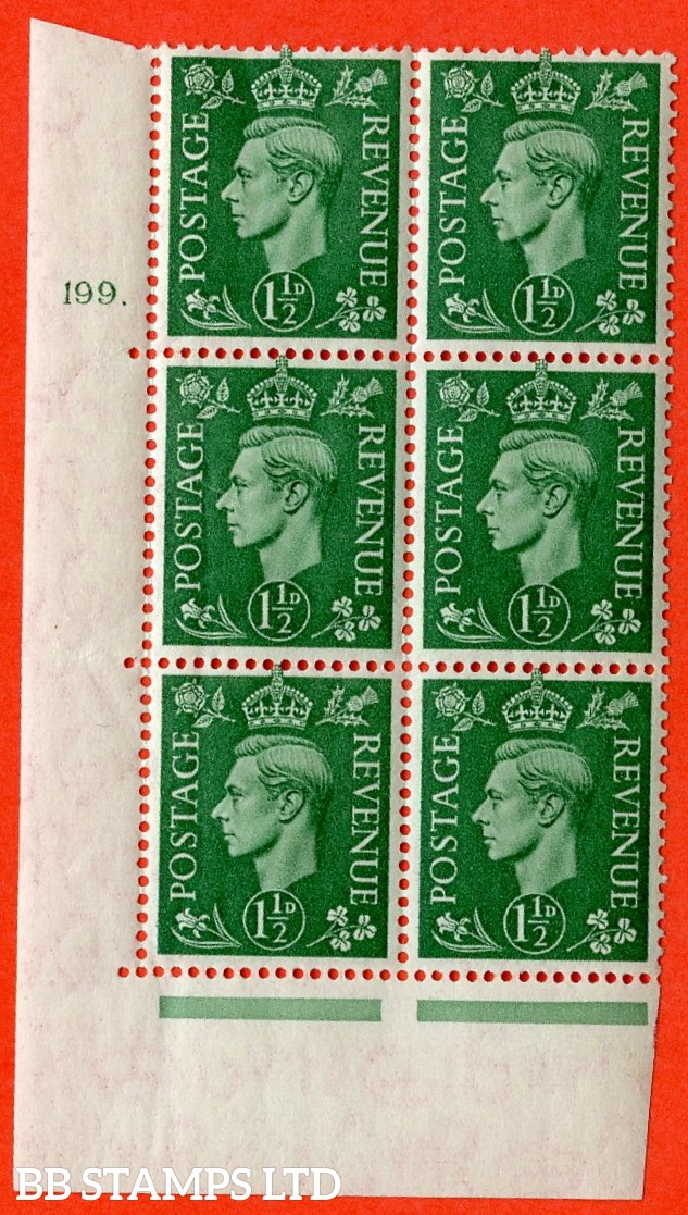 "SG. 505. Q9. 1½d Pale Green. A superb UNMOUNTED MINT "" No Control cylinder 199 dot "" control block of 6 with perf type 5 E/I."