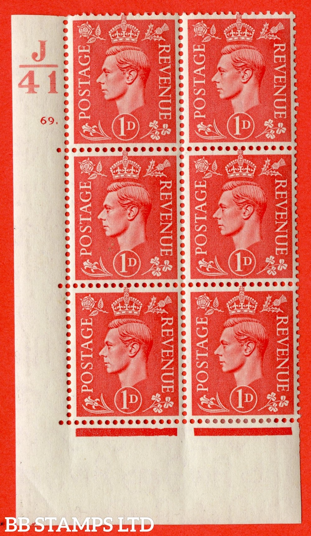 "SG. 486. Q5. 1d Pale scarlet. A fine lightly mounted mint "" Control J41 cylinder 69 dot "" control block of 6 with perf type 5 E/I."