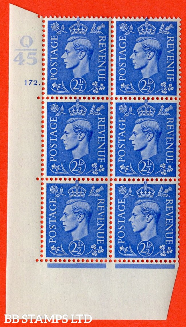 """SG. 489. Q14. g. 2½d Light ultramarine. A superb UNMOUNTED MINT """"  Control Q45 cylinder 172 dot """" control block of 6 with perf type 5 E/I. With listed variety """" white dot by clover leaf """" row 18/2."""
