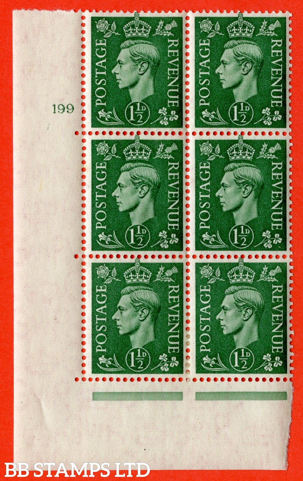 "SG. 505. Q9. 1½d Pale Green. A  very fine lightly mounted mint "" No Control cylinder 199 no dot "" control block of 6 with perf type 5 E/I."