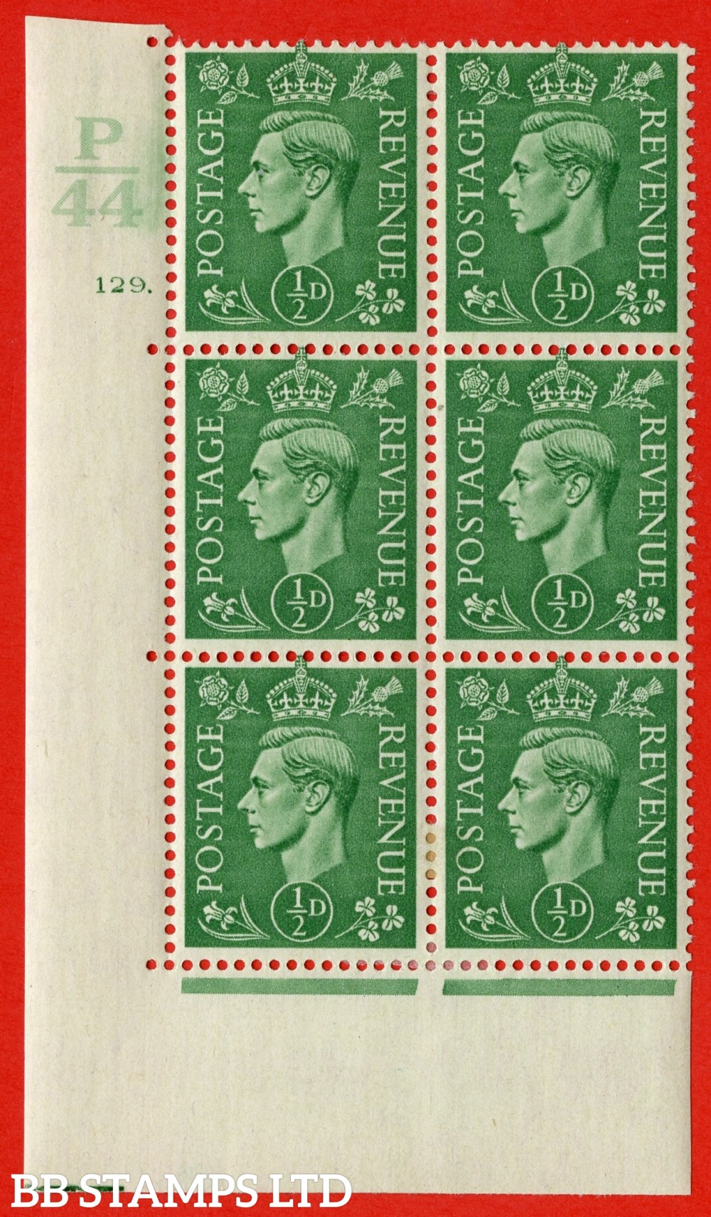 "SG. 485. Q2. ½d Pale Green. A very fine lightly mounted mint "" Control P44 cylinder 129 dot "" block of 6 with perf type 5 E/I with marginal rule."