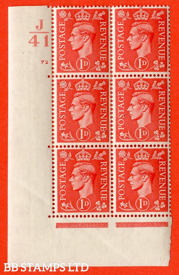 """SG. 486. Q5. 1d Pale scarlet. A superb UNMOUNTED MINT """"  Control J41 cylinder 72 no dot """" control block of 6 with perf type 5 E/I. Creased."""