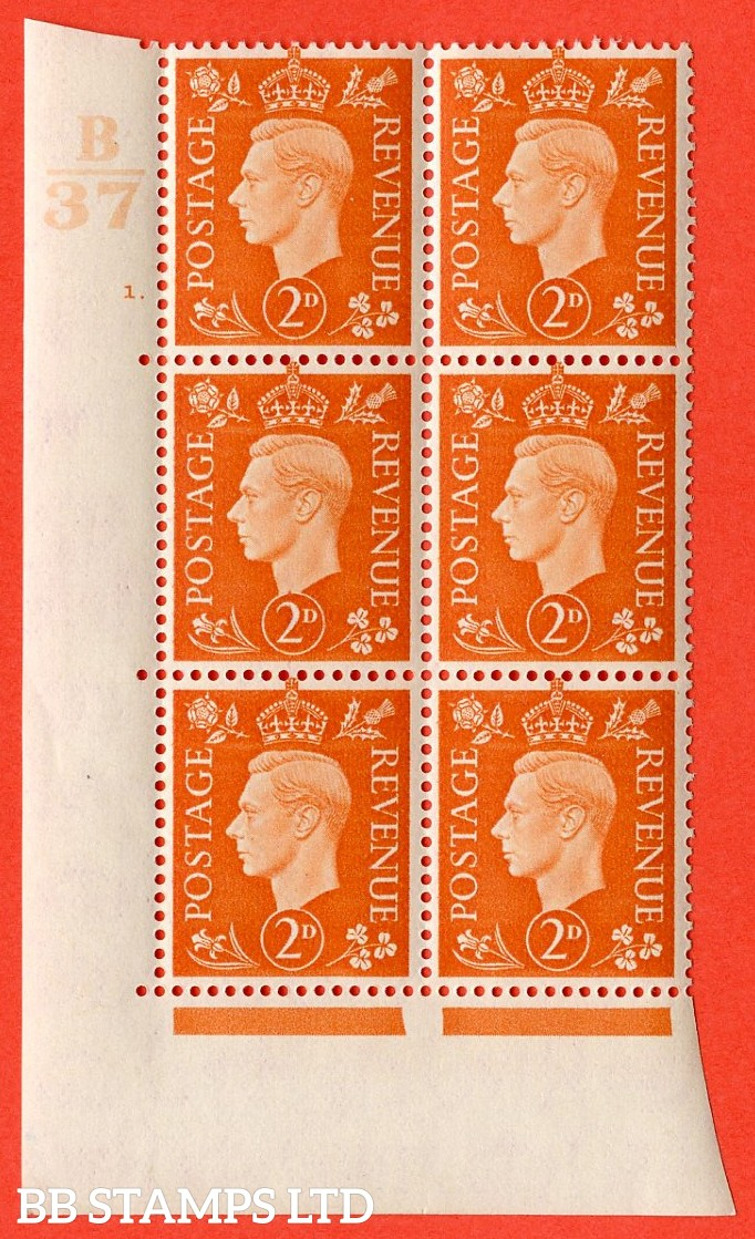 "SG. 465. Q10. 2d Orange. A superb UNMOUNTED MINT "" Control B37 cylinder 1 dot "" control block of 6 with perf type 5 E/I."