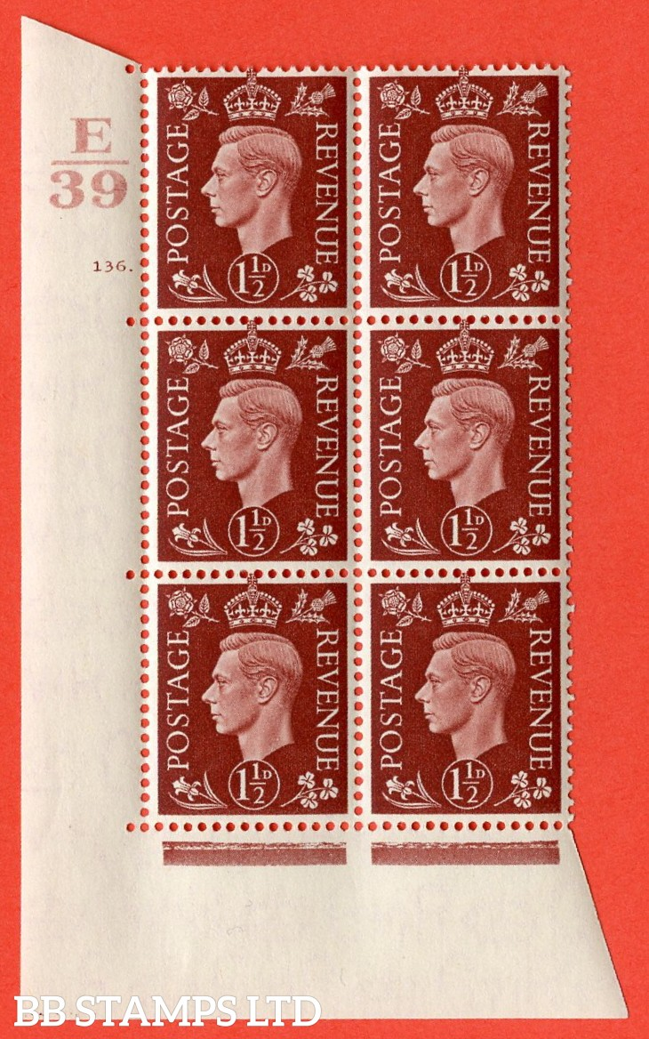 "SG. 464. Q7. 1½d Red-Brown. A superb UNMOUNTED MINT "" Control E39 cylinder 136 dot "" control block of 6 with perf type 5 E/I. with marginal rule."