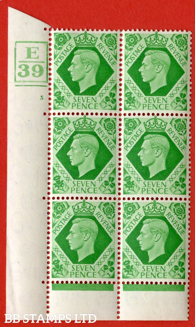 "SG. 471. Q23. 7d Emerald-Green. A very fine lightly mounted mint. "" Control E39 box and bar bottom cylinder 3 no dot "" control block of 6 with perf type 6B E/P."