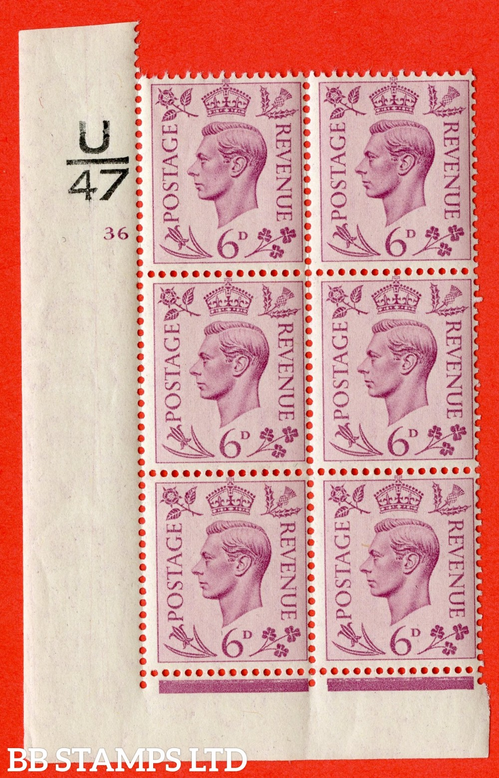 """SG. 470. Q22. 6d Purple. A superb UNMOUNTED MINT """" Control U47 cylinder 36 no dot """" control block of 6 with perf type 2 I/E."""