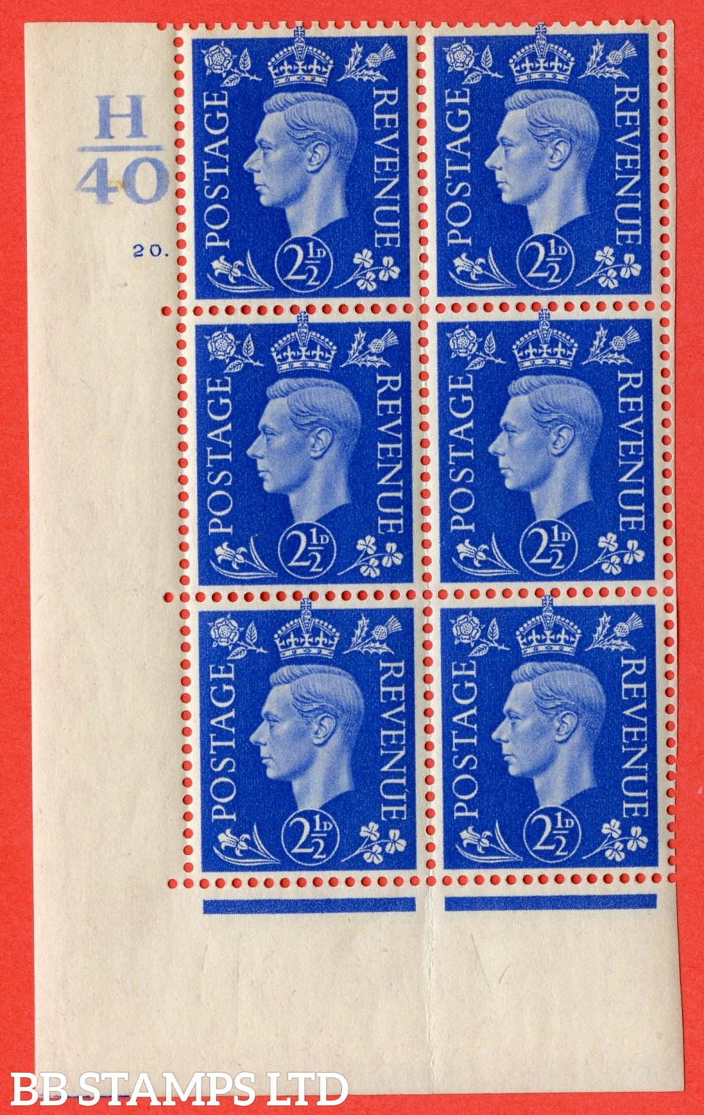 "SG. 466. Q13. 2½d Ultramarine.  A superb UNMOUNTED MINT "" Control H40 cylinder 20 dot "" control block of 6 with perf type 5 E/I with marginal rule."