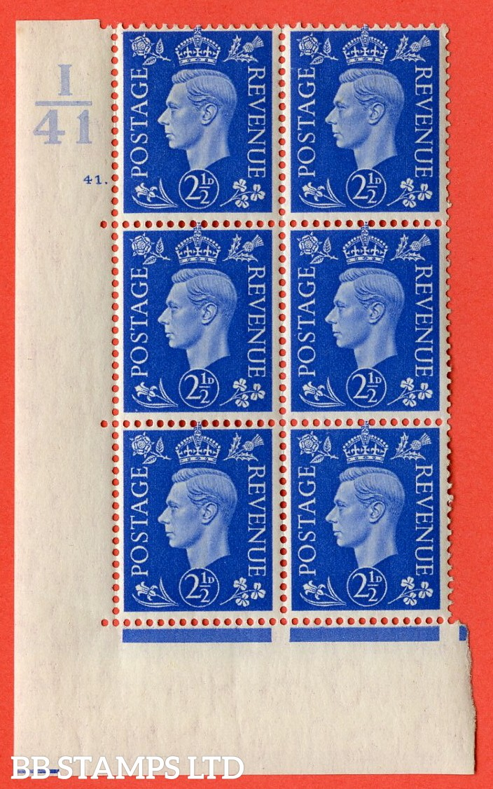 """SG. 466. Q13. 2½d Ultramarine.  A very fine lightly mounted mint """" Control I41 cylinder 41 dot """" control block of 6 with perf type 5 E/I with marginal rule."""
