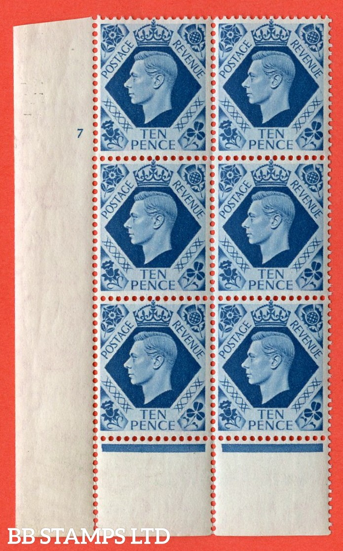"SG. 474. Q26. 10d Turquoise-Blue. A superb UNMOUNTED MINT "" No Control cylinder 7 no dot "" control block of 6 with perf type 6 I/P. Perf separation bottom margin."