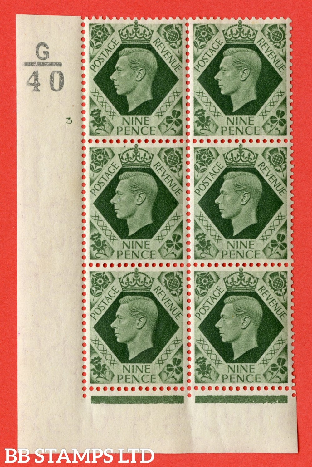 "SG. 473. Q25. a. 9d Olive-Green. Afine mounted mint "" Control G40 cylinder 3 no dot "" control block of 6 with perf type 2 I/E. with listed variety "" sloping serif last E of PENCE "" row 18/1."