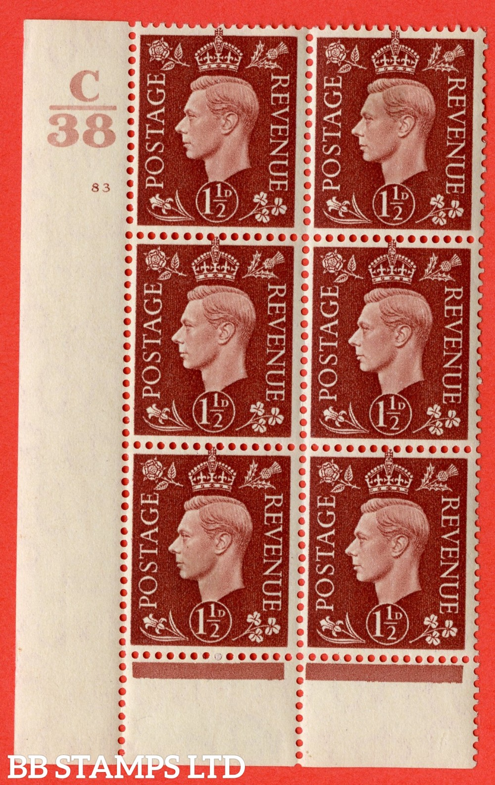 """SG. 464. Q7. 1½d Red-Brown. A fine lightly mounted mint """" Control B37 cylinder 83 no dot """" control block of 6 with perf type 6 I/P. with marginal rule."""