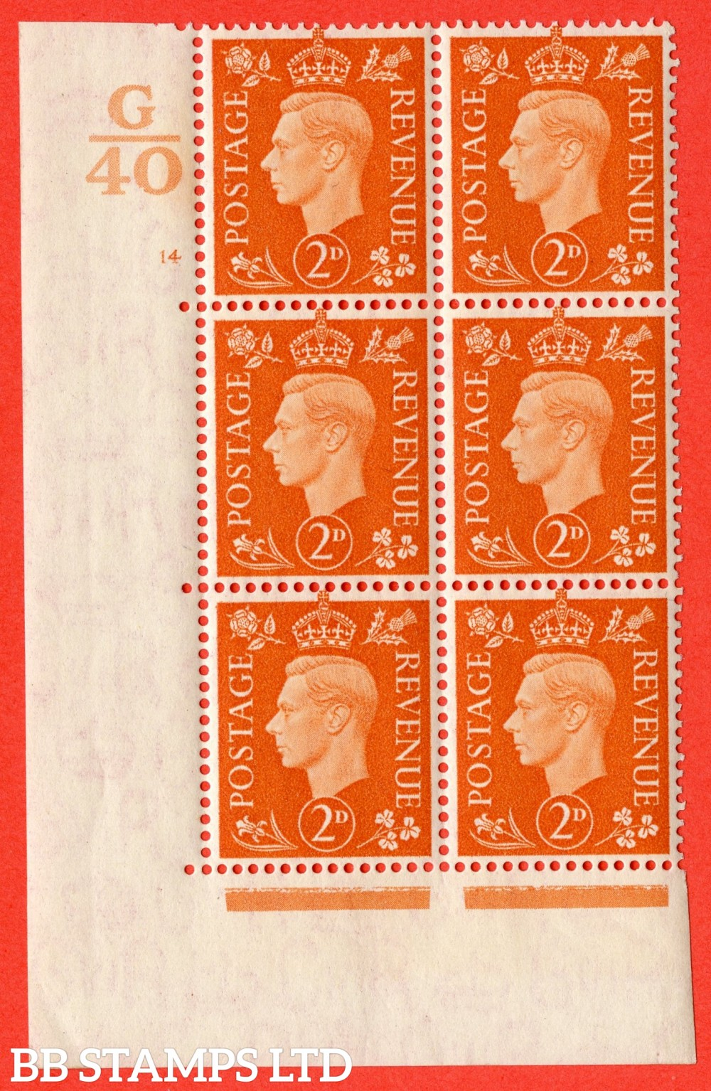 "SG. 465. Q10. 2d Orange. A superb UNMOUNTED MINT "" Control G40 cylinder 14 no dot "" control block of 6 with perf type 5 E/I."