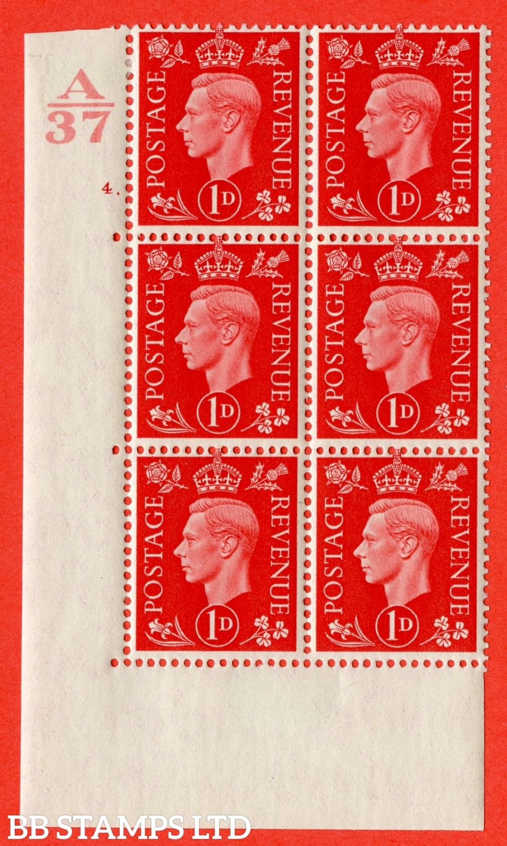 "SG. 463. Q4. 1d Scarlet. A very fine lightly mounted mint "" Control A37 cylinder 4 dot "" block of 6 with perf type 5 E/I without marginal rule."