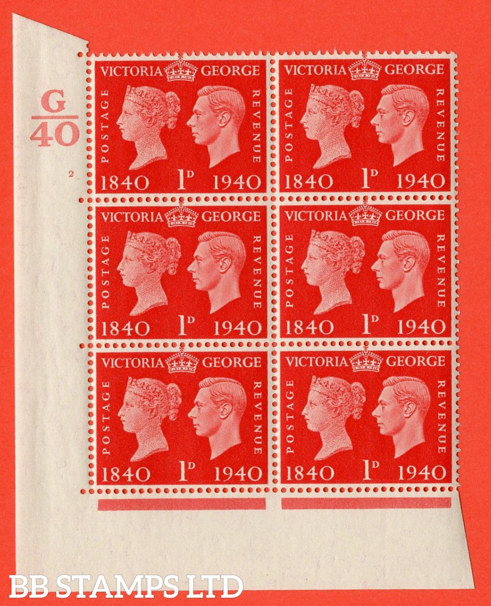 """SG. 480. QCom3. 1d Scarlet. A superb UNMOUNTED MINT """" Control G40 cylinder 2 no dot """" block of 6 with perf type 5 E/I"""