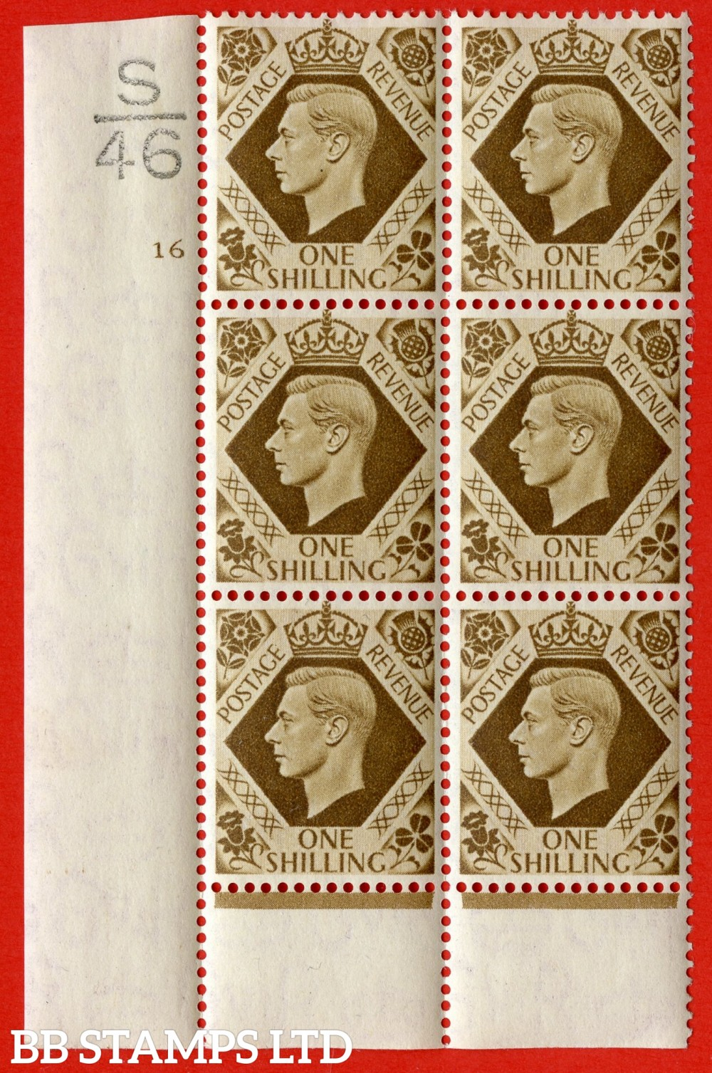 "SG. 475. Q28. a. 1/- Bistre-Brown. A fine lightly mounted mint "" Control S46 cylinder 16 no dot "" control block of 6 with perf type 6 I/P."