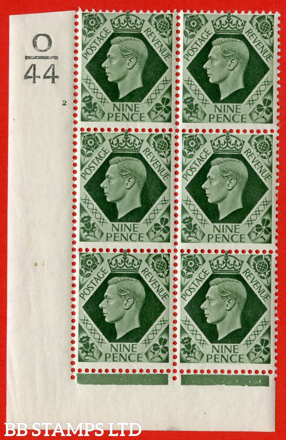 "SG. 473 b. Q25. 9d Olive-Green. A fine lightly mounted mint "" Control O44 cylinder 2 no dot "" control block of 6 with perf type 2 I/E with listed variety "" Serif touched out "" row 18/1."