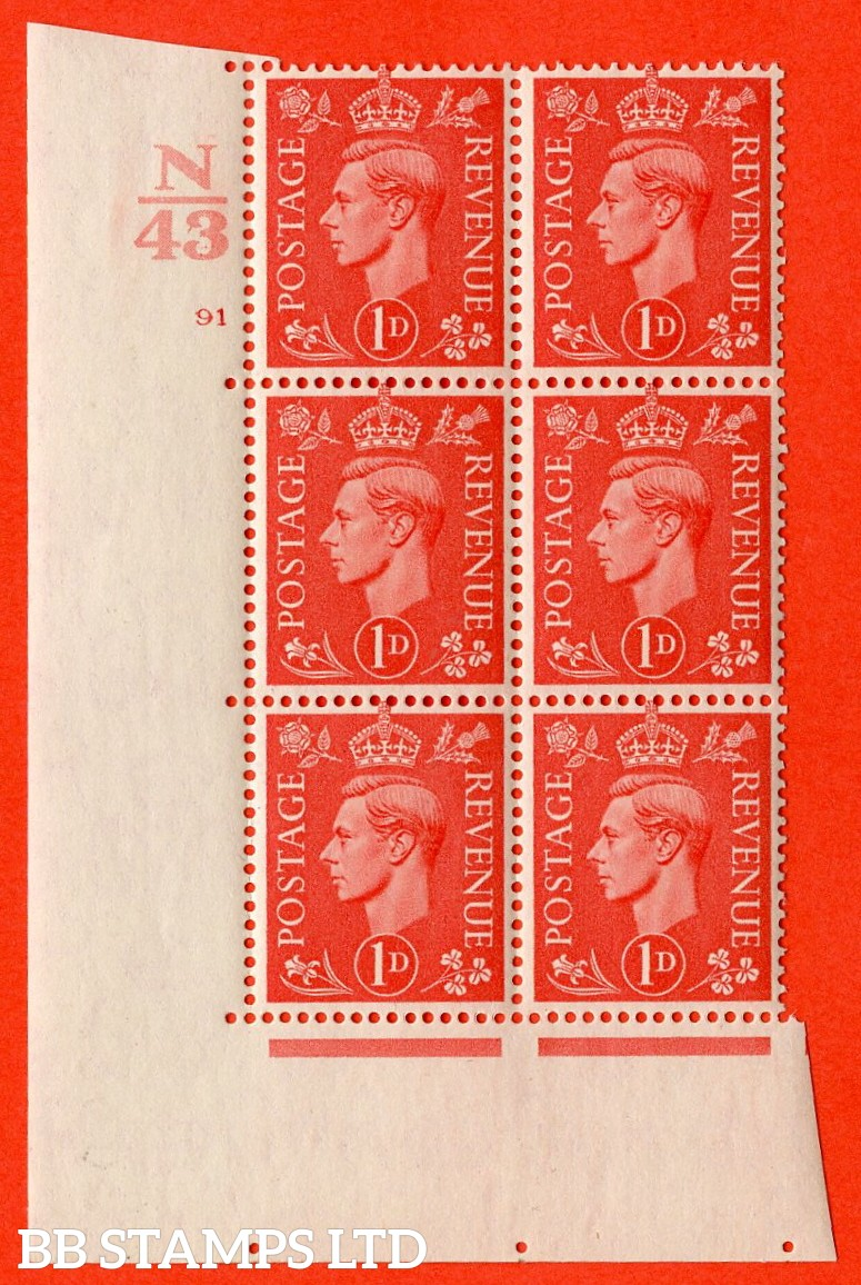"SG. 486. Q5. 1d Pale scarlet. A fine lightly mounted mint ""  Control N43 cylinder 91 no dot "" control block of 6 with perf type 5 E/I."